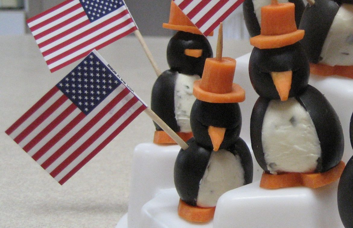 4th of July Patriotic Cream Cheese Penguins