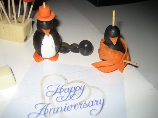 Wedding Anniversary Cream Cheese Penguins - He with Ball and Chain, She with Fancy Dress