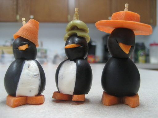 Conehead, stacked green olive, and sun hat crazy penguins
