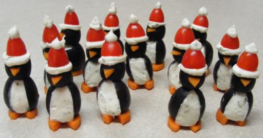Christmas Cream Cheese Penguins with Santa Hats